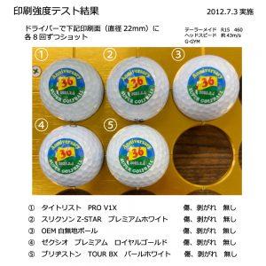 ゴルフボール印刷強度テスト2021年7月3日