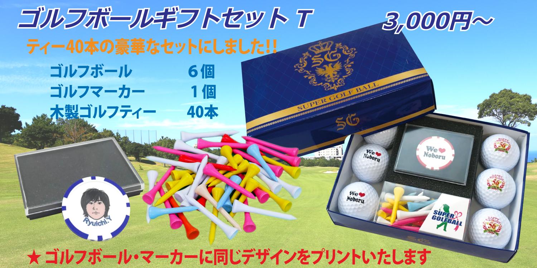 名入れゴルフボールギフトセットT ティー40本の豪華なセットにしました
